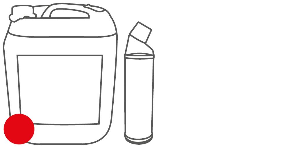 Gebinde Schräghalsflasche und Kanister
